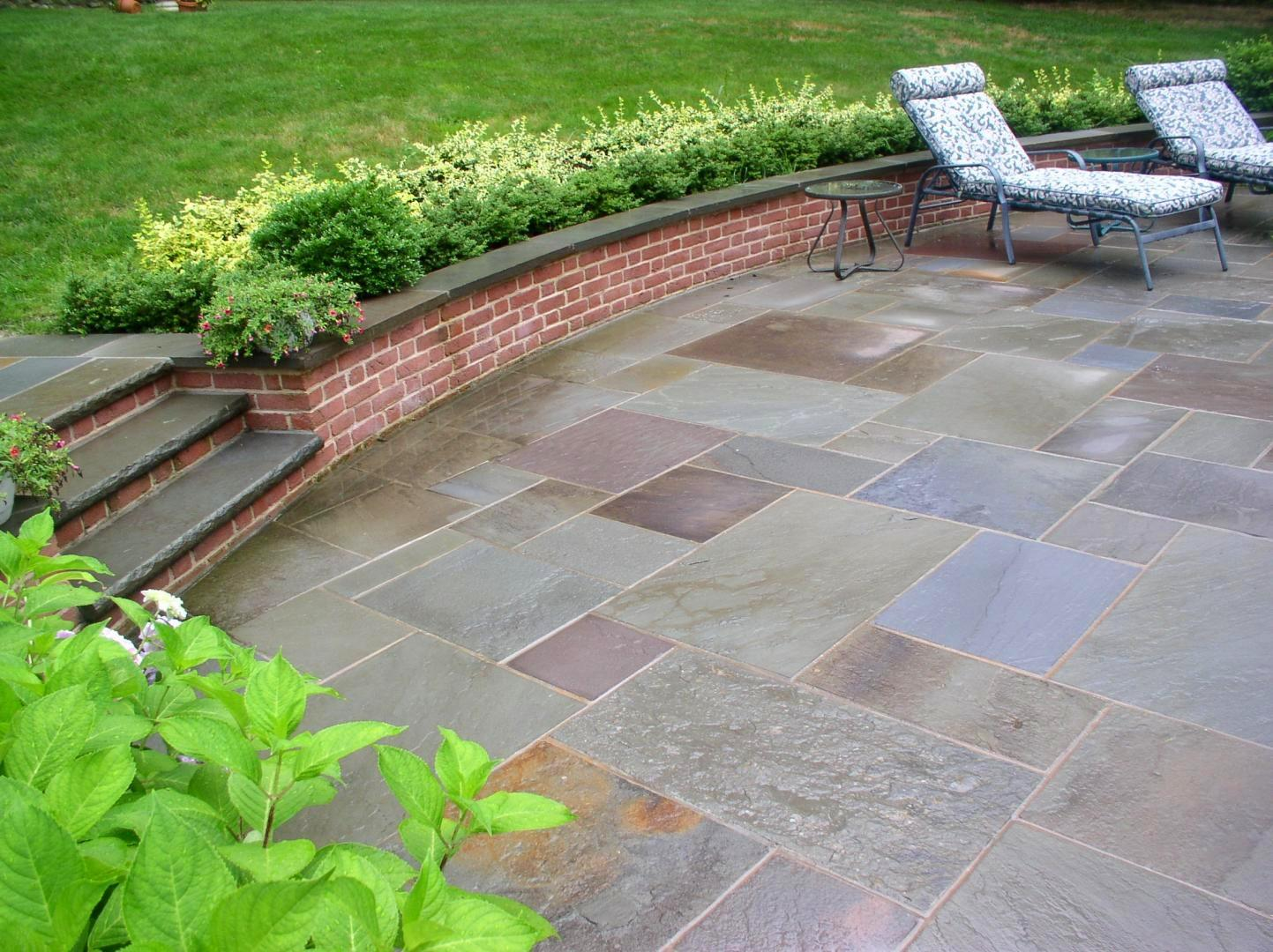 New York Bluestone Patio With Brick Seating Wall